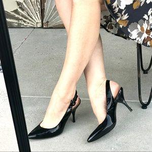 COACH black patent heels LEATHER slingback 8 PUMPS